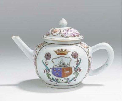 A famille rose armorial teapot