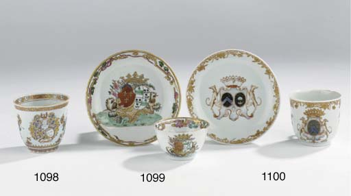A famille rose armorial cup an