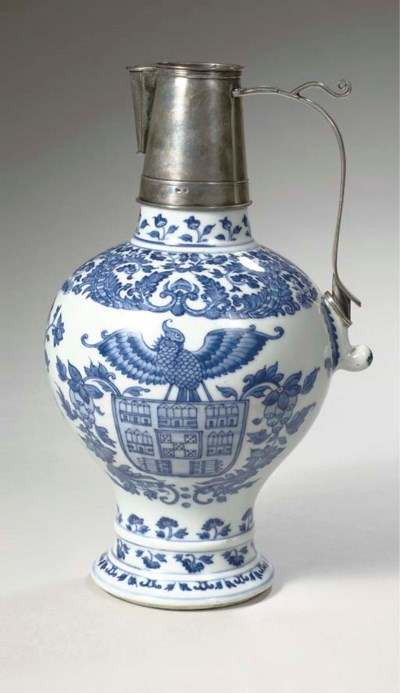 A rare Chinese blue and white