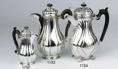 A large German silver coffee p