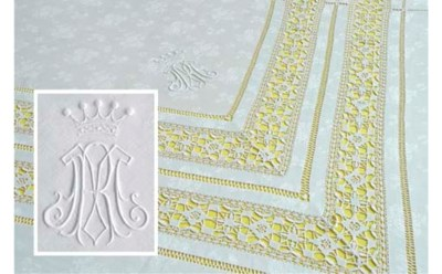 A damask linen and openworked