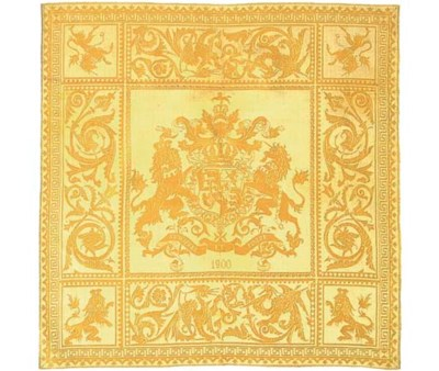 A commemorative square damask