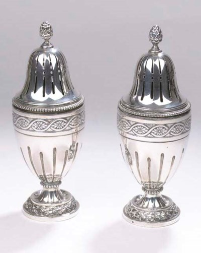A pair of Dutch silver casters