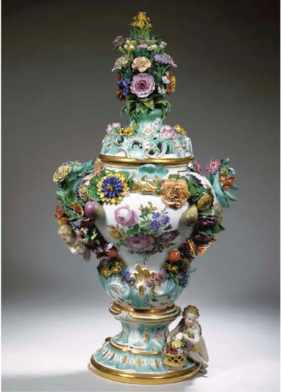 A large Meissen porcelain flow