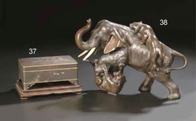 A bronze model of an elephant