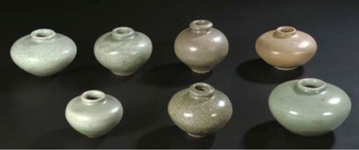 A group of seven celadon and b