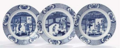 Three blue and white plates