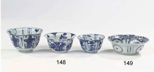 Three blue and white bowls