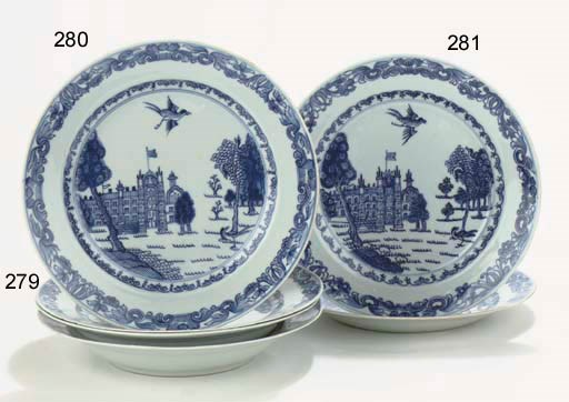 A pair of blue and white 'Burg