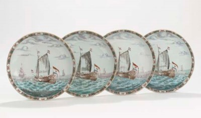A set of four Dutch-decorated