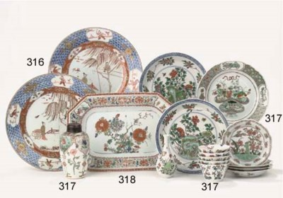 A pair of Imari plates and a f