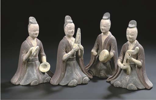 A set of four grey pottery pai