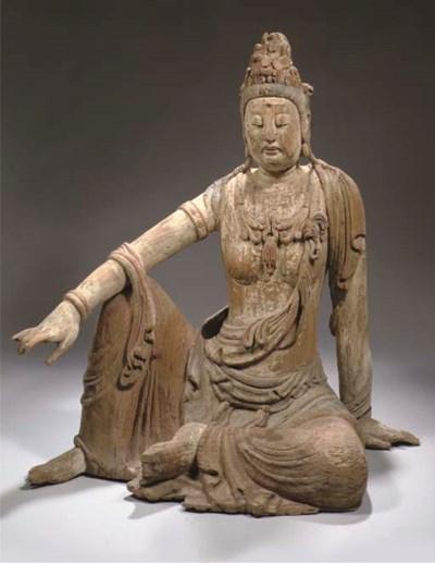 A wood figure of Guanyin