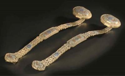 A pair of gilt-bronze and cloi