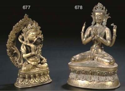 A Nepalese gilt-bronze figure