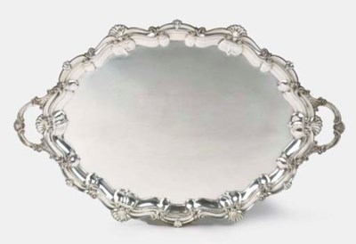 A large English silver tray