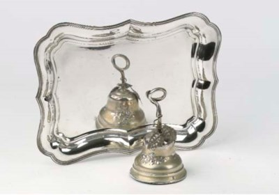 A Dutch silver table bell and