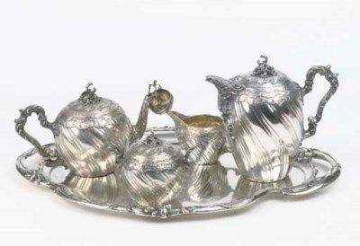 A four-piece silver coffee and