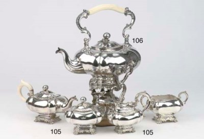 A Dutch silver teakettle with