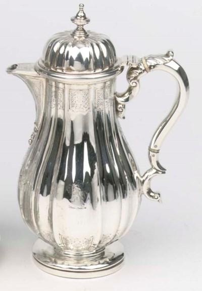 An English silver hot-water ju