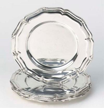 A set of six Danish silver din