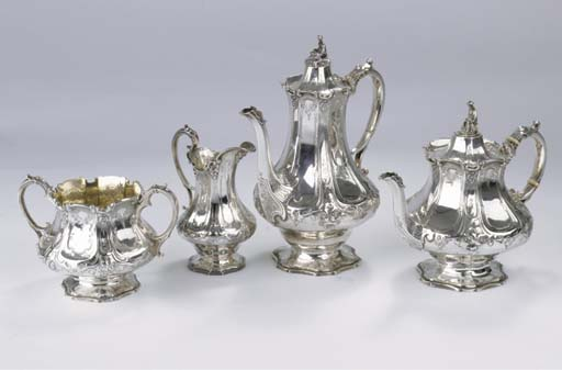 (4) An English silver coffee a