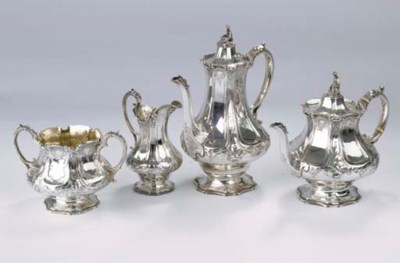 (4) An English silver coffee a