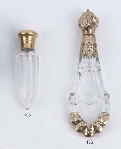 A Russian cut-glass and gold-m
