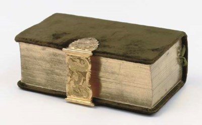 A Dutch bible with gold mount