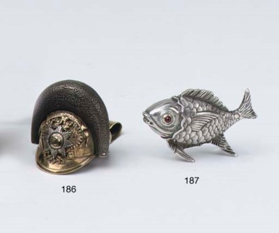 A Russian silver fish-shaped s