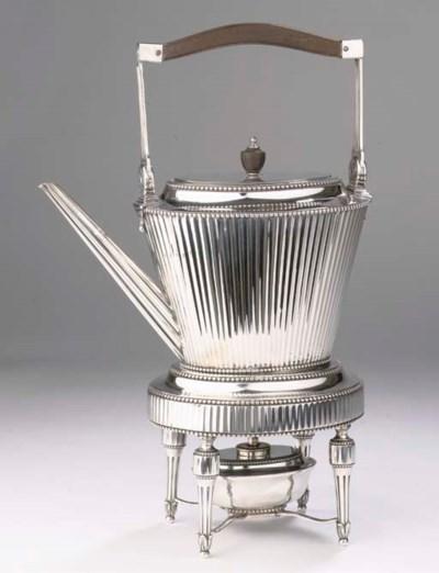 A Dutch silver teakettle on st