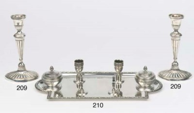 A large french silver inkstand