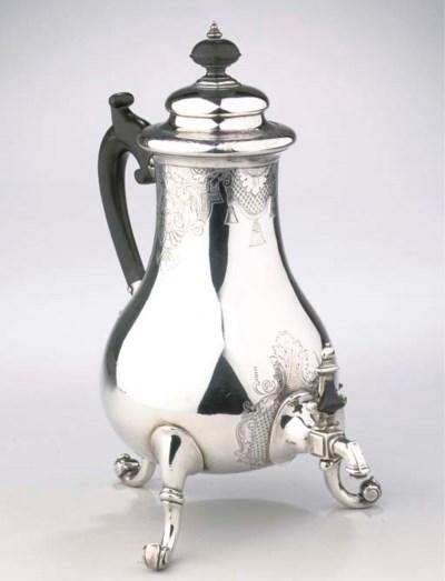 A Dutch silver coffee urn on l