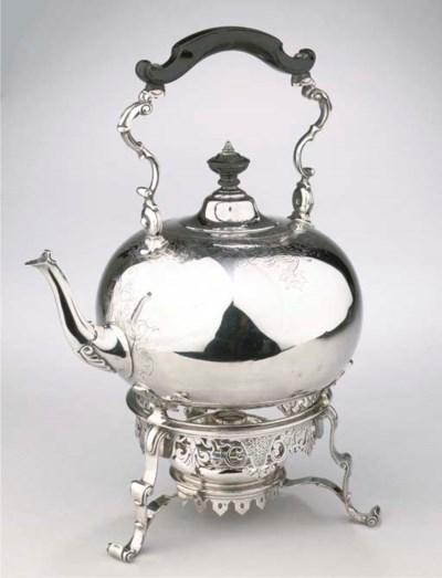 A Dutch silver hot-water kettl
