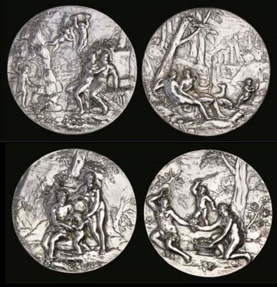 A set of four various silver p