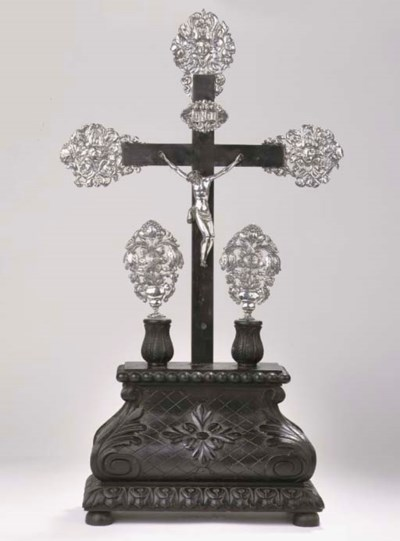 A large Dutch wood and silver-