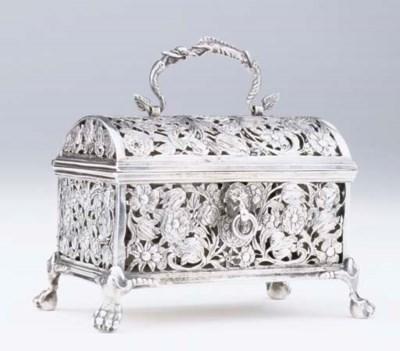 A Dutch silver marriage casket