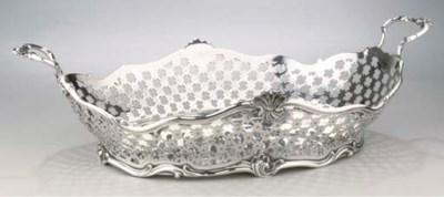 A large Dutch silver breadbask