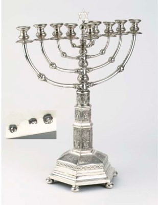 A German silver chanukkah lamp