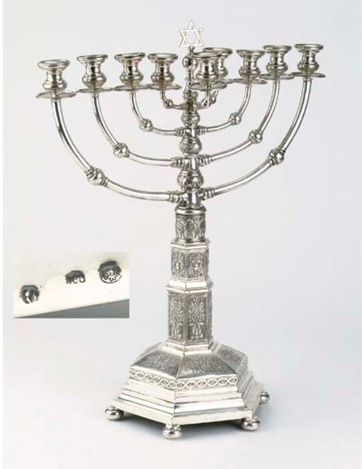 A German silver chanukkah lamp