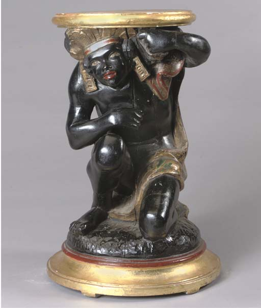 AN ITALIAN POLYCHROME-PAINTED AND PARCEL-GILT BLACKAMOOR PEDESTAL