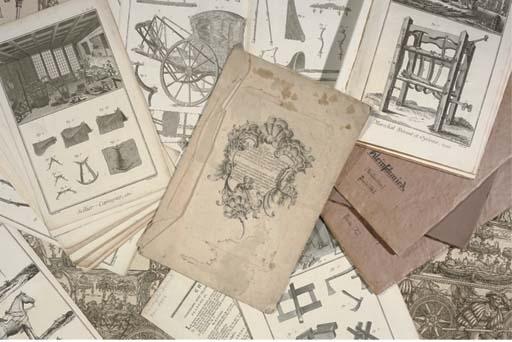 (8)  A DESIGN-BOOK WITH SIX COPPER-ENGRAVINGS OF CHARIOT-ORNAMENTS ESSAI DE DESSEINS DE BAS-RELIEF...