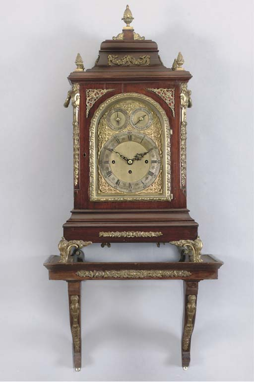 A Victorian large and gilt-bronze mounted mahogany quarter-chiming bracket clock, on wall bracket