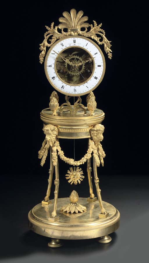 A LATE LOUIS XVI ORMOLU STRIKING SKELETON CLOCK