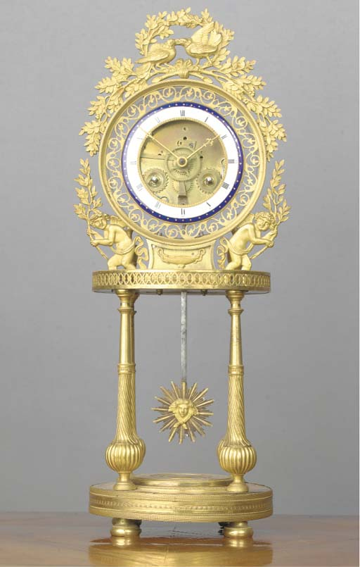 A LOUIS XVI ORMOLU STRIKING PORTICO SKELETON CLOCK