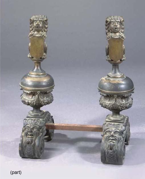 (4)  A PAIR OF DUTCH BRASS AND CAST-IRON ANDIRONS