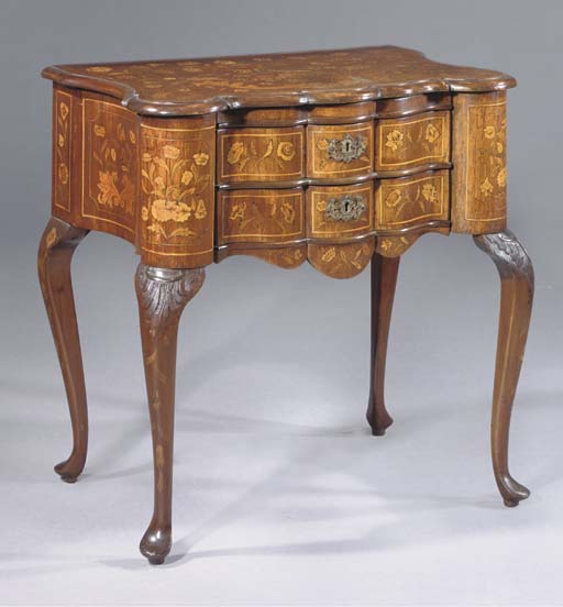 A DUTCH MAHOGANY AND MARQUETRY SIDE TABLE