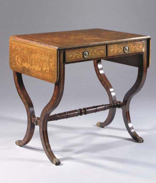 A DUTCH MAHOGANY AND MARQUETRY SOFA TABLE