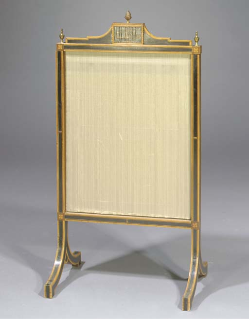 A Dutch satinwood, ebony, marquetry and gilt-japanned fire-screen