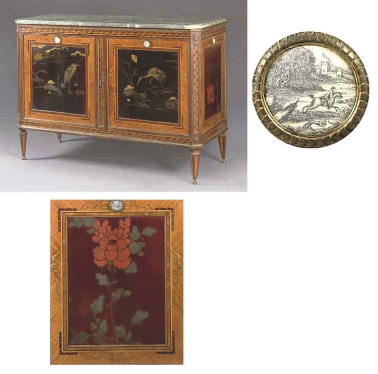 A DUTCH GILT-BRASS MOUNTED BLACK, RED AND GILT LACQUER SATINWOOD, ROSEWOOD, TULIPWOOD, AMARANTH AND FRUITWOOD MARQUETRY SIDEBOARD